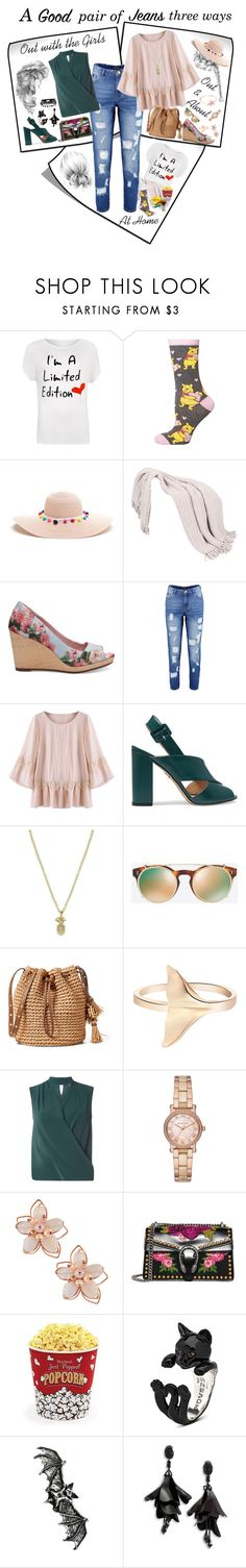 """A Good pair of jeans three ways"" by jc13137 ❤ liked on Polyvore featuring WearAll, Dorothy Perkins, TOMS, Boohoo, Charlotte Olympia, Valentino, Michael Kors, NAKAMOL, Gucci and West Bend"