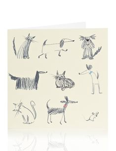 Sketchy Dog & Cat Blank Card | M&S
