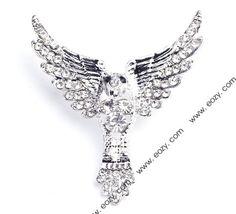 4x4.5cm White Goose Alloy Acrylic Diamond Fashion Modern Brooch  #eozy