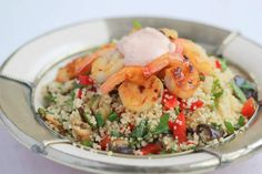 Delicious Griddled Prawns with lemon quinoa and Harissa mayo..