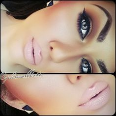 Matte Brown Eye Makeup - Winged Eyeliner - Nude Lips - Beautiful Eyes