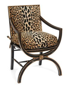 Macayla Mirrored Leopard-Print Armchair by John-Richard Collection at Horchow.