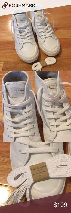 Rag & Bone white leather standard issue high top NWOB Rag & Bone white leather standard issue high top sneaker size 8. New without box- comes with a second set of laces. rag & bone Shoes Sneakers