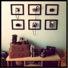 Vintage cameras on the wall