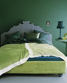 green+rom+vtwonen.nl.  Warm for me, but I would love it with a peacock blue throw and a couple of peacock blue pillows.