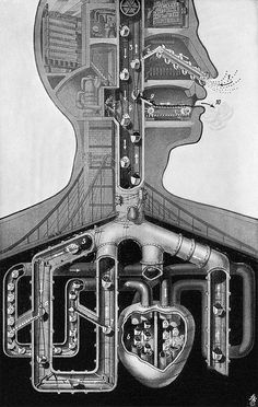 Respiration, 1943 (by Fritz Kahn) Illustration Arte, Structure And Function, Medical Art, Ex Machina, Arte Popular, Gcse Art, Retro Futurism, Human Body, At Least