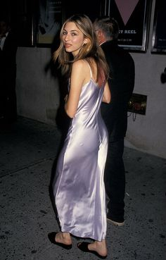 Sofia Coppola in the 90's, long shiny pale lavendar slip dress, and flat slipper shoes.   The original pyjama trend?  This is my kind of sexy dressing.