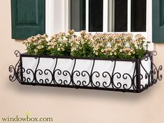 San Simeon Wrought Iron Flower Boxes - Windowbox.com