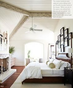 Exposed wooden beams in the bedroom... For those of you who don't work at Timber Home Living, this is what a timber home is!