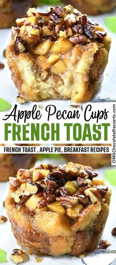 Apple Pecan French Toast Cups are all of the goodness of French toast, cut in small pieces and packed in small cups filled with sweet apple pie filling and irresistible, crunchy pecan topping.#apple #pie #french #toast #cups #breakfast Delicious Breakfast Recipes, Delicious Desserts, Dessert Recipes, Yummy Food, French Toast Muffins, French Toast Recipes, Healthy French Toast, Apple French Toast, French Toast Bake