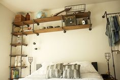 Industrial Pipe Shelving--all the way across over the bed?