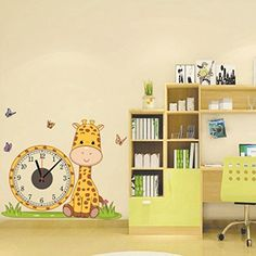 DIY Creative Giraffe Wall Clock Wall Stickers Butterfly PVC Removable Wall Art Home Decor by D?cor House D?cor Life >>> Special discounts just for this time only  : Nursery Decor