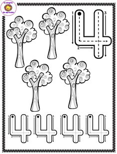 Free Spring tracing worksheet number four 4 trees Numbers For Kids, Numbers Preschool, Learning Numbers, Writing Numbers, Free Kindergarten Worksheets, Preschool Curriculum, Preschool Lessons, Preschool Math, Toddler Learning Activities