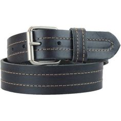 Montauk Leather Club 1-1/2 in. US Steer Hide Leather Double Stitch Men's Belt w/ Antq.Nickel Roller Buckle, Size: 38, Black
