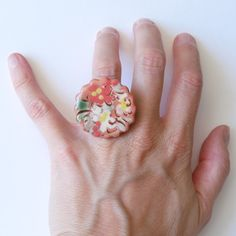 Large Ring Cabochon Ring Flower Ring Ceramic Ring by bleuluciole