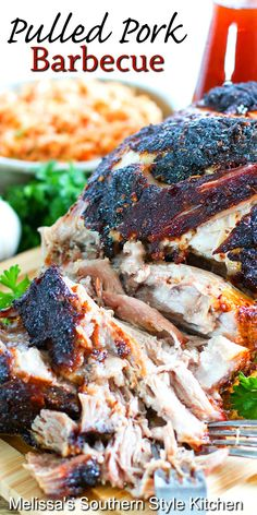 Enjoy this tender Pulled Pork Barbecue on toasted rolls with a side of slaw #pulledpork #porkrecipes #porkbarbecue #choppedpork #barbecue #dinner #dinnerideas #Carolinaporkbarbecue #southernrecipes #southernfood Barbecue Recipes, Pork Recipes, Cooking Recipes, Chicken Recipes, Carolina Pulled Pork, Rolled Roast, Southern Potato Salad, Pork Bacon