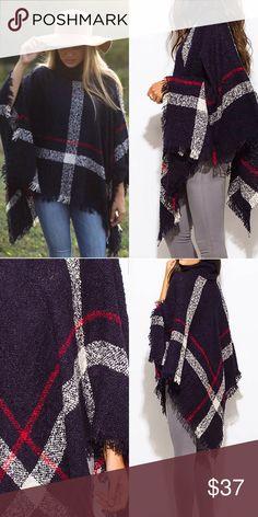 Plaid turtleneck poncho Plaid fuzzy knit poncho turtleneck sweater. 100% Acrylic - Price is firm✔️ Sweaters Shrugs & Ponchos