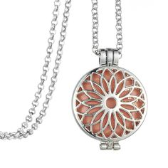 """my shape 32"""" Ling Chain Sun Flower Shape Essential Oil Locket Pendant Diffuser Aromatherapy Necklace for Women Dress Jewelry"""