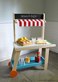DIY Pretend Play Lemonade Cart for Preschoolers! Your kids will love playing with their very own lemonade stand that you made from them using this easy project tutorial.
