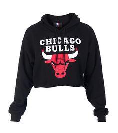 NBA 4 HER Cropped hoodie Long sleeves CHICAGO BULLS logo on front Adjustable drawstring on hood Soft inner fleece for comfort