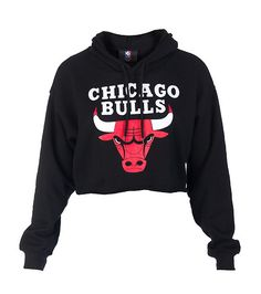 NBA 4 HER Cropped hoodie Long sleeves CHICAGO BULLS logo on front Adjustable drawstring on hood Soft inner fleece for comfort