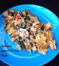 Eaterspot: Mushroom, Spinach and Peas Pasta
