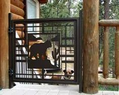 #customgate by NatureRails with Bobcat design. Pet gates don't have to be ugly! Powered coated metal never needs painting. Visit www.NatureRails.com for more custom designs. What can we create for you?