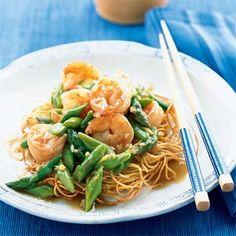 Stir-Fry for Top Flavor  | Asparagus and Shrimp Stir-Fry on Noodle Pillows | MyRecipes.com