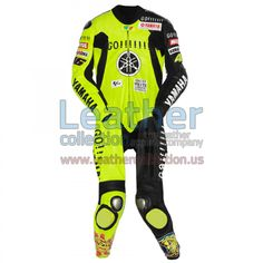 Valentino Rossi Winter Test Yamaha MotoGP 2005 Leather Suit, Suit for the Valentino Rossi for the Australian winter tests that was specially designed with no tobacco sponsorship logos as these have been banned there