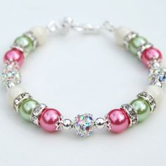 $27.55 Bridesmaid Jewelry, Pink Green and Ivory Pearl Rhinestone Bracelet, Custom Colors, Wedding Party
