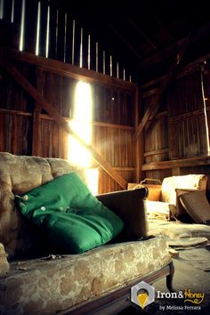Home 8in x 12in Fine Art Photograph by ironhoney on Etsy, $30.00 Green pillow on vintage couch in abandoned barn. Iron and Honey Photography