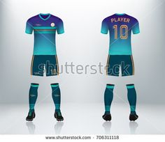 51f967140 3D realistic of font and back of cyan soccer jersey shirt with pants and  soccer socks on shop backdrop. Concept for soccer team uniform or football  apparel ...