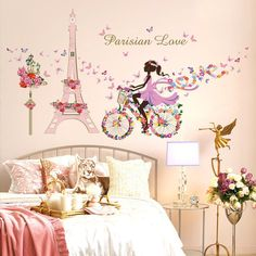 Check current price Romantic Paris Wall Sticker For Kids Rooms Eiffel Tower Flower Butterfly Fairy Girl Riding Wall Art Decal Home Decor Mural just only $3.54 with free shipping worldwide #wallstickers Plese click on picture to see our special price for you
