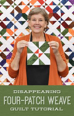 Jenny has filmed 22 different disappearing quilt block tutorials, but the Disappearing Four-Patch Weave is a bit different! When those pieces are reassembled, they create a gorgeous woven pattern that looks like it took forever to create! Follow the link below to watch the quilt tutorial now! #MissouriStarQuiltCo #MSQC #JennyDoan #DisappearingFourPatchWeave #Quilting #Quilt #FourPatch #Sewing #QuiltTutorial #QuiltBlock #QuiltPattern #HowToQuilt #LayerCakeQuilt #LayerCake Missouri Quilt Tutorials, Quilting Tutorials, Quilting Projects, Quilting Designs, Quilting Ideas, Flag Quilt, Quilt Blocks, Disappearing Four Patch, Quilt Block Patterns