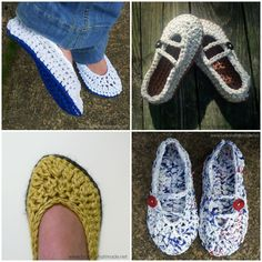 These chunky crochet slippers are super comfy and they work up quickly. You can make them with yarn, t-shirt yarn, or plarn.