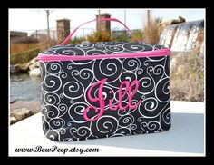 Personalized Swirls Monogrammed SMALL by SomethingYouGifts on Etsy (Accessories, Case, black hot pink white, monogram monogrammed, cosmetic cosmetics, makeup make up bags, swirls swirl swirly, pattern design style, printed print girls, teen tween dance set, script font preppy, small smaller size, personalized custom, embroidered names, bridesmaids gifts)