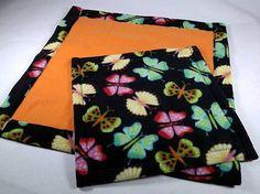 Doll Quilt or Beardie Blanket Set NEON BUTTERFLIES by kre8ivLizard
