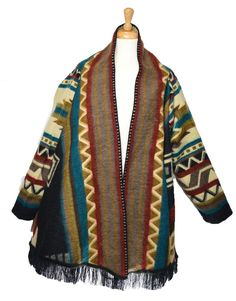 American Indian pattern hand made cape with sleeves Indian Patterns, Indian Art, American Indians, Cape, Beige, Amazon Fr, Sleeves, Sweaters, Handmade