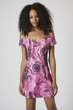 664da75285   Floral Printed Bardot Dress by Rare - Multi pink rose print bardot  bodycon dress
