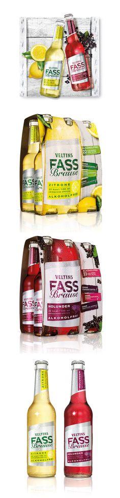 "Veltins ""Packaging for an alcohol-free Fassbrause (a 'beer-barrel fizzy beverage' with lemon or elder berry flavoring)."""