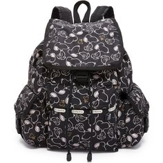 LeSportsac Voyager Backpack (735 VEF) ❤ liked on Polyvore featuring bags, backpacks, snoopy shuffle black, flap backpack, black flap backpack, backpack bag, black backpack and rucksack bag