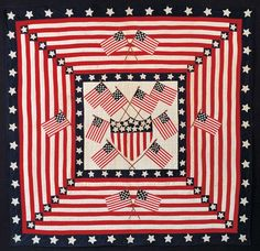 FLAG QUILT / Mary C. Baxter (dates unknown), Kearny, New Jersey, 1898–1910, cotton with cotton embroidery, 77 1/4 x 78 3/4 in., American Folk Art Museum, gift of the Amicus Foundation, Inc., Anne Baxter Klee, and Museum Trustees, 1985.15.1