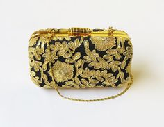 #GOLD BOX #CLUTCH #Floral bag Antique #blackgold #wedding #bags by iThinkFashion