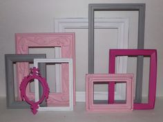 Pink, Grey/Gray, Hot Pink and White Picture Frame Set of 8-Ornate Frame Set-Shabby Chic-Girls Nursery-Empty Open Back Frames