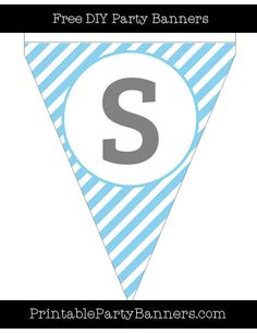 Baby Blue and White Pennant Diagonal Striped Capital Letter S