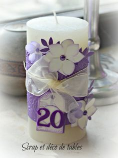 bougie customisée Show White, Scrapbooking, Bee Happy, Happy Mail, Deco Table, Decoration, Communion, Pillar Candles, Craft Ideas