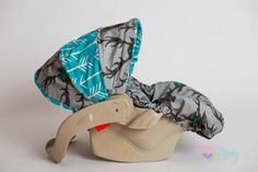 Arrow Deer Boutique Boys Infant Car Seat Carseat Cover, Canopy, Head Rest, Chest Strap Covers Gray Turquoise