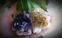 Amethyst & Citrine Cluster Pair ~Healing crystals, spirituality & success