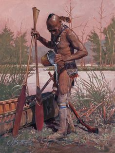Historical art by John Buxton of Eastern Woodland Indans with his birch bark canoe. Native American Paintings, Native American Pictures, Indian Paintings, Native American Warrior, Native American History, American Indian Art, American Indians, Woodland Indians, Historical Art