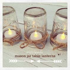 Mason Jar Table Lanterns | simplykierste.com  #party  #diydecor  #centerpiece